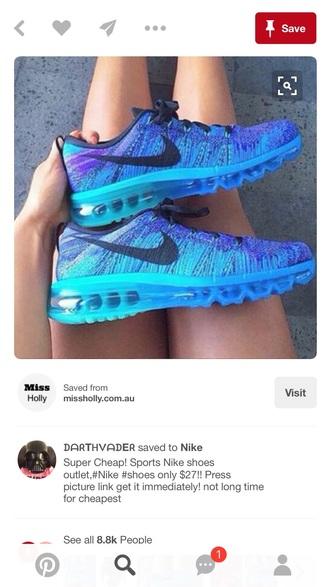 shoes nike nike flyknit blue sneakers