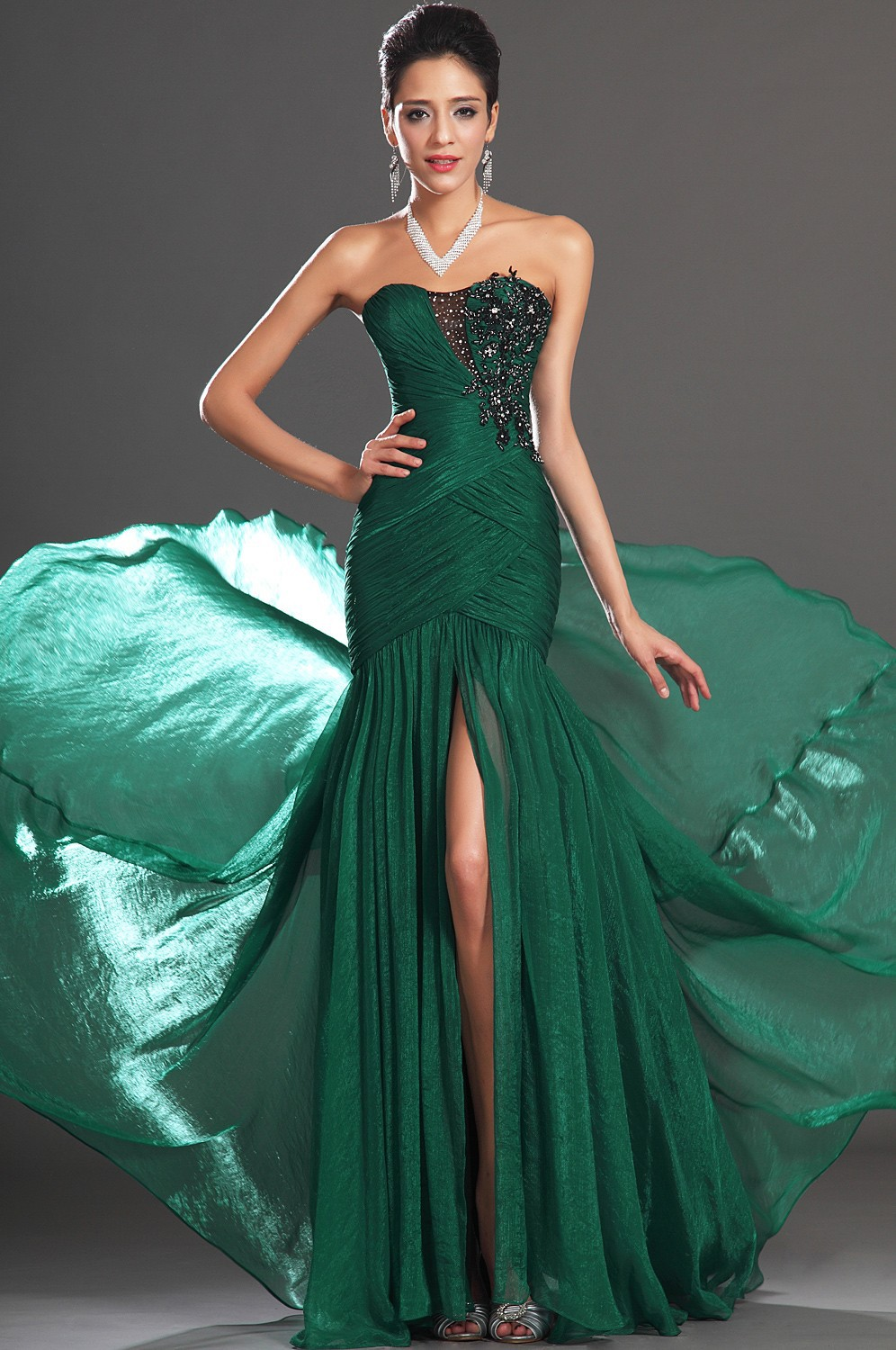 Elegant Emerald Green Color Sweetheart Appliques Front Slit Mermaid Style Prom Party Evening Dresses Formal Gowns 2013-in Evening Dresses from Apparel & Accessories on Aliexpress.com