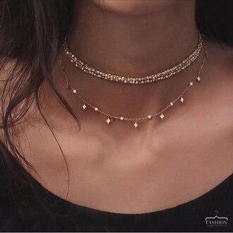 jewels choker necklace jewelry necklace layered gold gold necklace gold jewelry gold choker