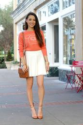 hapa time,blogger,sweater,satchel bag,leather bag,skater skirt,white skirt,orange,date outfit,skirt,shoes,bag,jewels