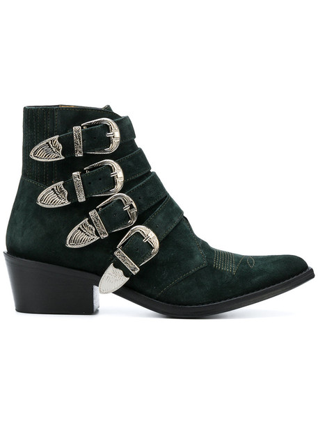 Toga Pulla women embellished ankle boots leather suede green shoes