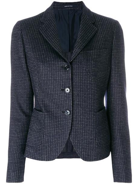 blazer check blazer women classic cotton blue wool jacket