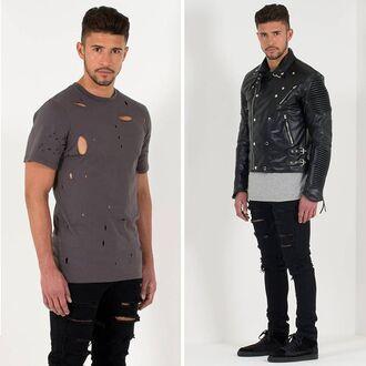 t-shirt maniere de voir grey ripped grey t-shirt