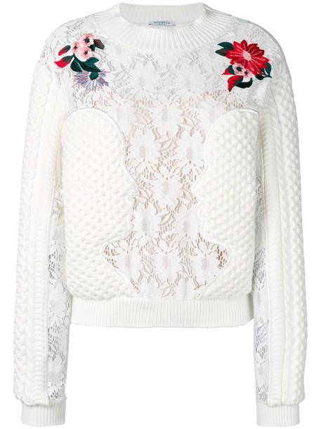 VIVETTA jumper embroidered women white sweater