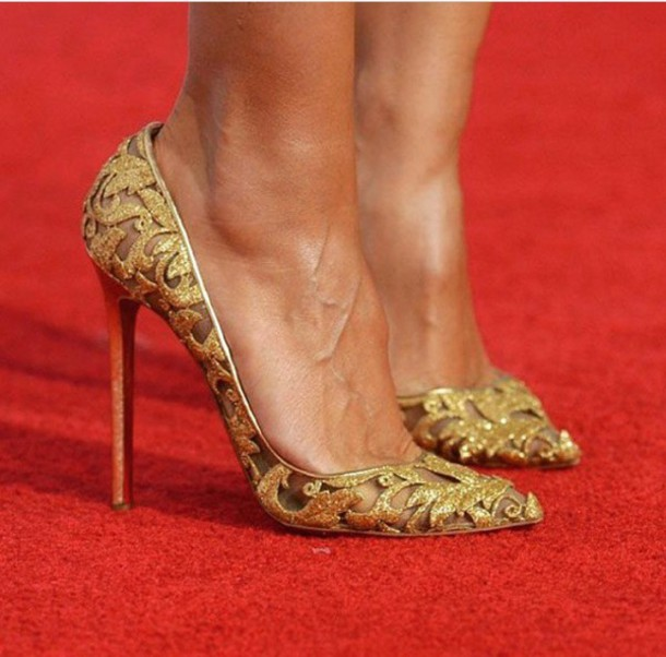 Shoes: pumps, heels, high-heels, court shoes, gold heels, high ...
