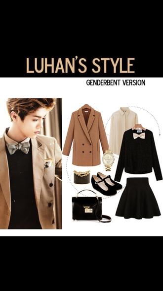 blouse black black shirt style shirt cool fashion korean fashion xi luhan white coat skirt jacket top girly girl bows bowtie cute kawaii