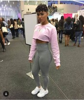 tights,pink sweater,crop tops,gray tights,glasses,shoes,hurarches,pink,grey,white