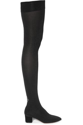 knit embellished boots black shoes