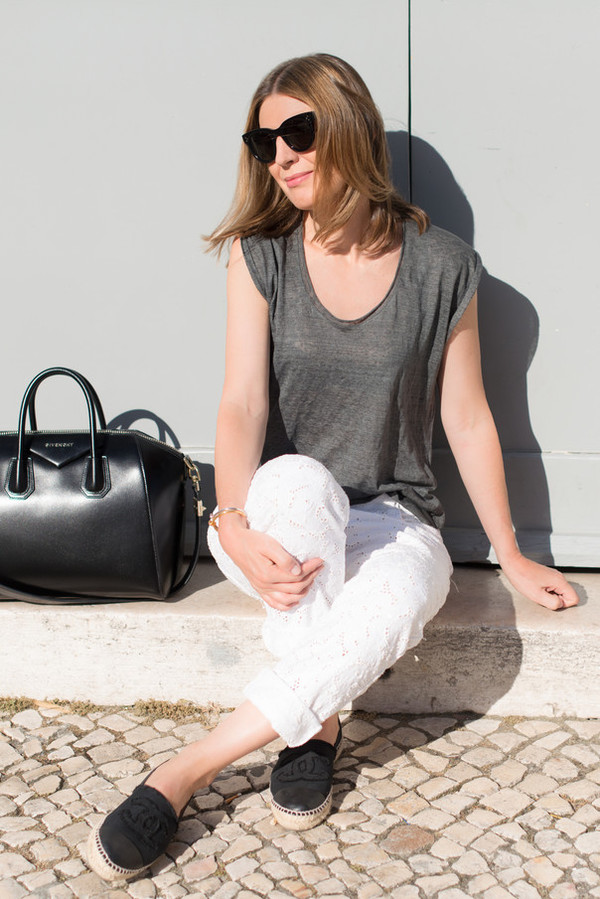 the working girl t-shirt pants bag shoes jewels sunglasses