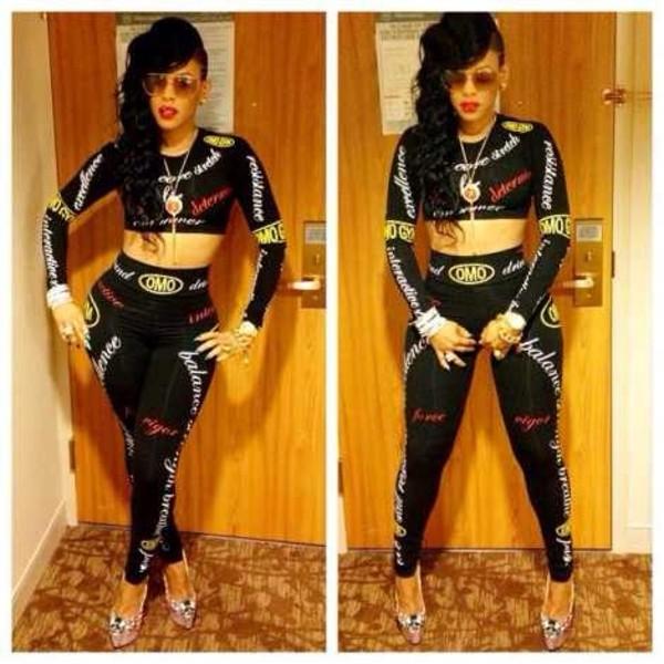 pants shirt keyshia kaoir leggings high heels keyshia kaoir crop tops blouse jumpsuit bodycon two-piece bodycon jumpsuit