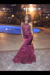 dress,dress in blue,the designer of the dresss and where' i can get it.!!,red,burgundy,floral,lace,prom,mermaid,black girls killin it,prom dress,flowers,see through,rose,cute,african american,dope prom dress,burgundy dress