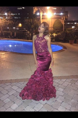 dress red burgundy floral lace prom mermaid black girls killin it prom dress flowers see through rose cute african american dope prom dress