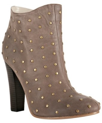 Candela light chocolate studded leather 'cloti' booties at bluefly