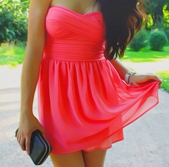 coral red coral dress strepless