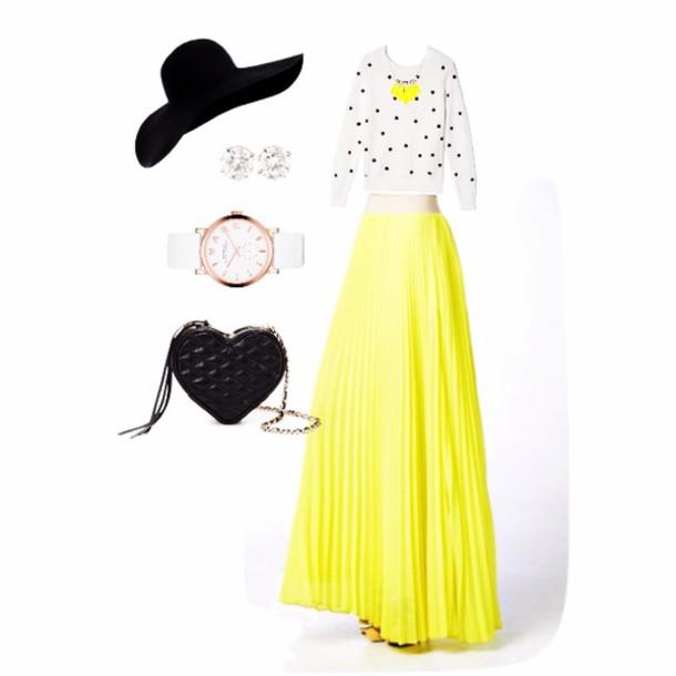 skirt yellow bikini pleated skirt maxi skirt spring break style spring spring outfits