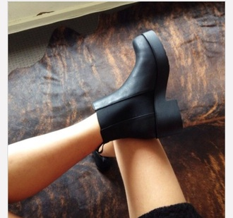 shoes boots black boots low heels booties