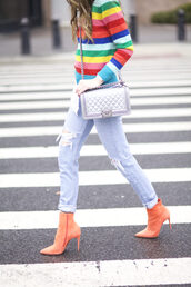 shoes,tumblr,orange,peach,ankle boots,high heels boots,pointed boots,jeans,denim,blue jeans,cuffed jeans,ripped jeans,bag,silver,silver bag,metallic,chain bag,neon,stripes,striped sweater,multicolor