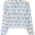 Blue Lapel Long Sleeve Coconut Print Crop Blouse - Sheinside.com