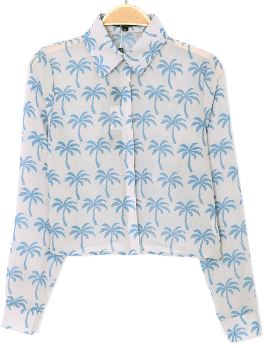 Blue Lapel Long Sleeve Coconut Print Crop Blouse - Sheinside.com