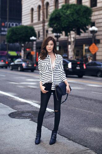 tsangtastic blogger blouse underwear jeans sunglasses jewels shoes bag