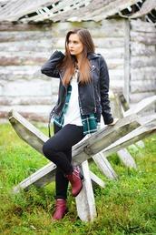 perla oreneta,blogger,t-shirt,jacket,jeans,top,leather jacket