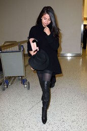 bag,purse,all black everything,boots,sweater,tights,selena gomez,fall outfits,oversized sweater,oversized