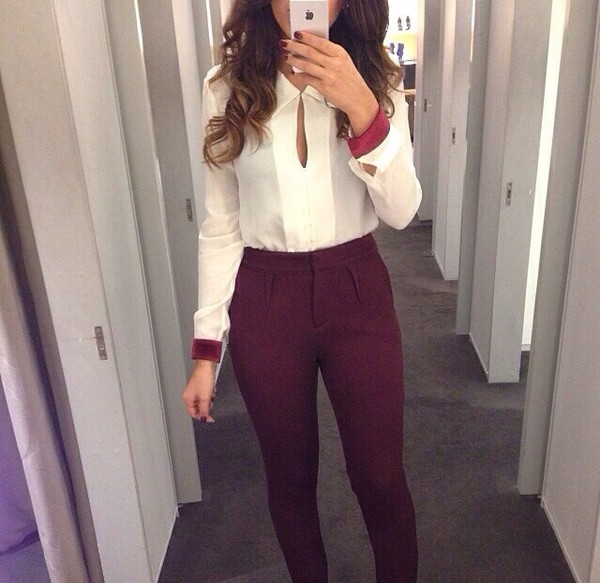 blouse pants cuffs burgundy white blouse white shirt
