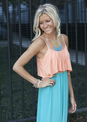 dress,maxi dress,torquioise,peach dress