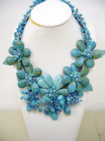 Embellishment flower blue turquoise necklace and by jarincrystal