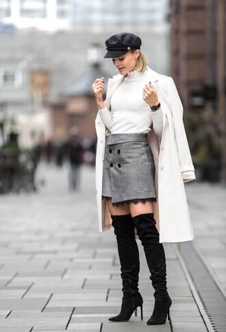 skirt mini skirt grey skirt wrap skirt top white top coat white coat hat boots black boots over the knee boots