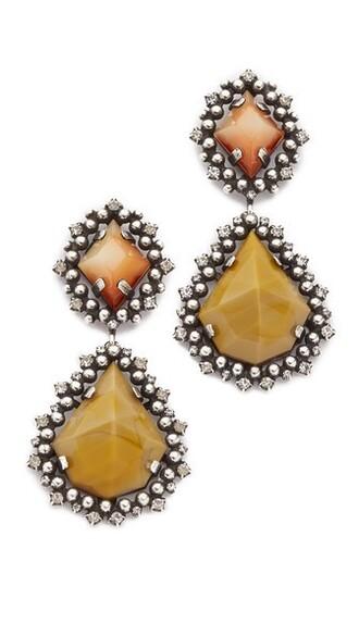 earrings mustard jewels