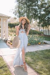 southern curls and pearls,blogger,dress,bag,shoes,hat,jewels,spring outfits,straw bag,round bag,wedges,striped dress