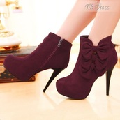 shoes,burgundy,bows,heels,christmas