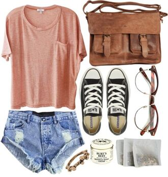 bag outfit cute shirt shorts sunglasses shoes jewels converse glasses cut off shorts vintage