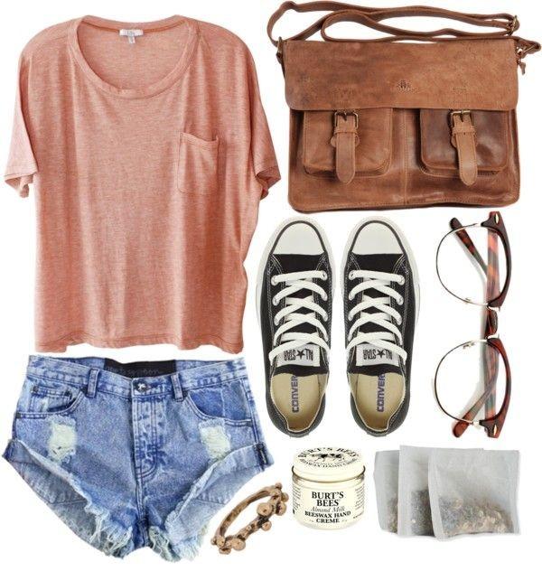 bag outfit cute shirt shorts sunglasses shoes jewels converse glasses cut off shorts vintage