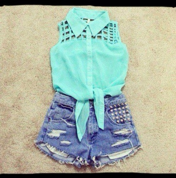 baby blue light blue blouse shorts pretty cut-out booty shorts crop top bustier