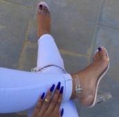 shoes,clear heels,chunky heel