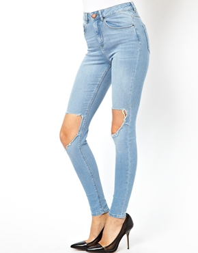 ASOS | ASOS Ridley High Waist Ultra Skinny Jeans in Watercolour Blue with Busted Knees at ASOS
