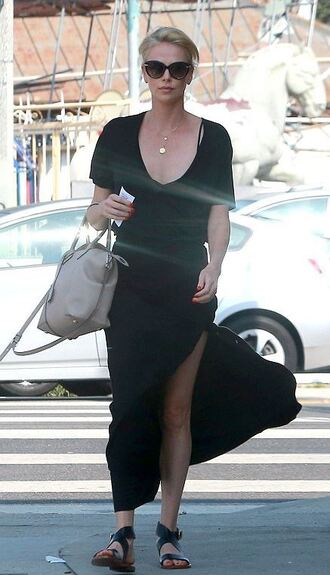 skirt top charlize theron slit skirt slit maxi skirt maxi skirt sandals summer outfits