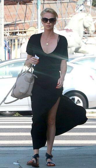 skirt top charlize theron slit skirt slit maxi skirt maxi skirt sandals summer outfits
