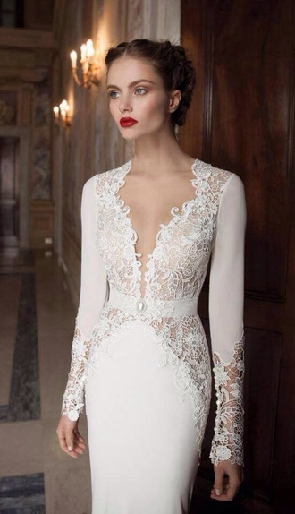 dress clothes wedding clothes white dress lace dress model red lip fashion dentelle married marriage robe de mari?e long dress sleeves white lace white lace gown white gown lace gown prom prom dress prom gown gown