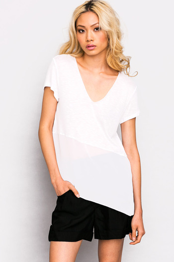 White chiffon panel asymmetrical v neck tunic tee boxy top
