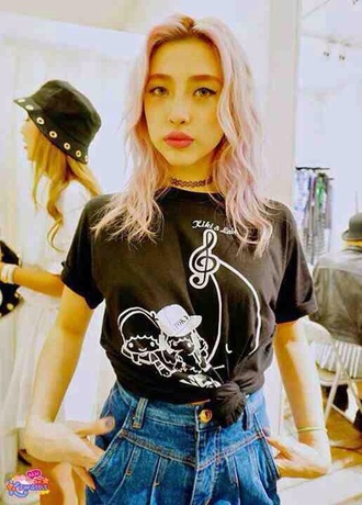 t-shirt shirt black white kawaii kawaii grunge choker necklace bucket hat pastel pink pink hair