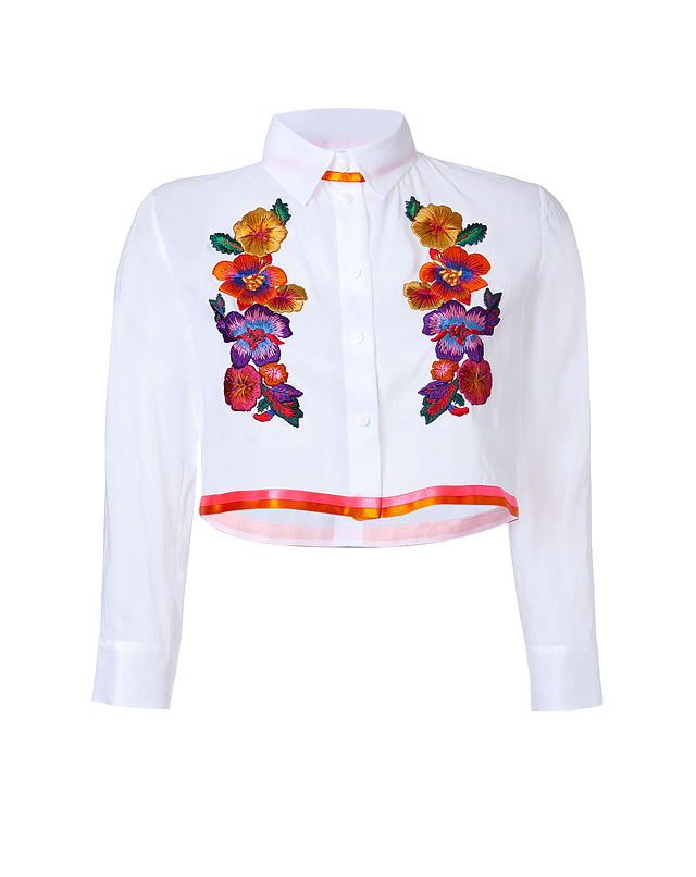 Embroidered Cropped Cotton Blouse from ALBERTA FERRETTI | Luxury fashion online | STYLEBOP.com