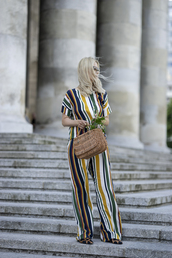 jumpsuit,stripes,bag,shoes