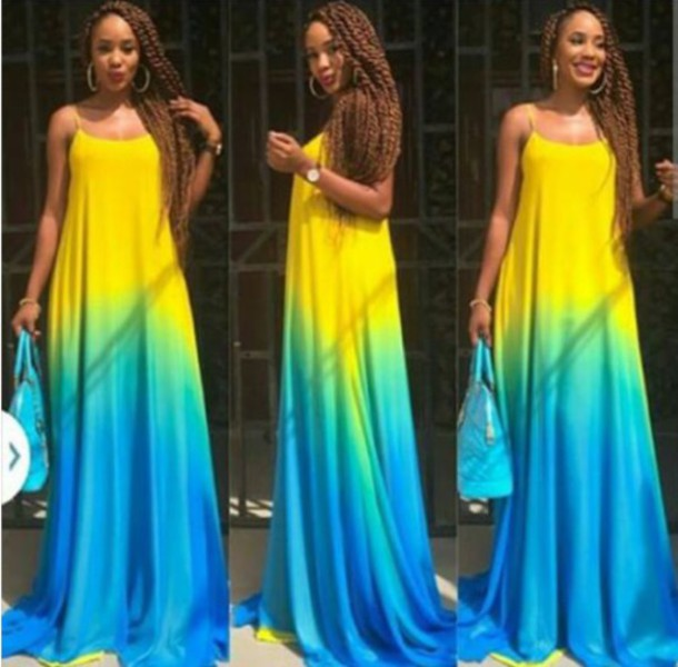 dress summer dress maxi yellow dress blue dress long dress sleeveless dress blue and yellow maxi dress