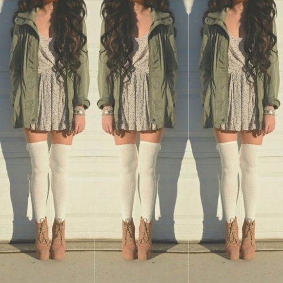 tan dress long sleeve green cargo jacket polka dots wedges shoes laces suede booties high heels platform shoes brown coat