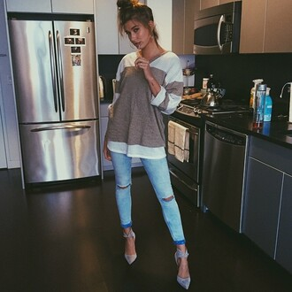 top sweater hailey baldwin instagram jeans denim
