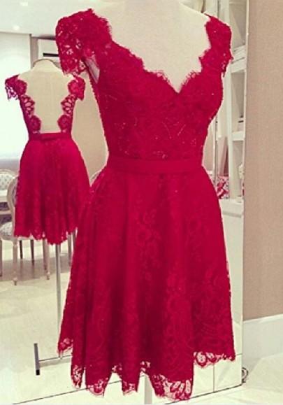 Neck cap sleeve lace dress