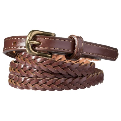Merona® Skinny Braid Tab Belt - Brown : Target